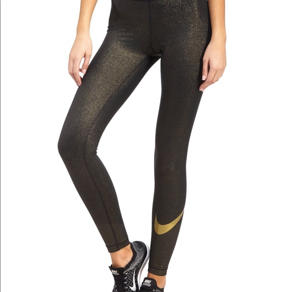 Nike gold glitter athletic leggings. M 5b8d62e68869f7d855f601d7 16b7b862e